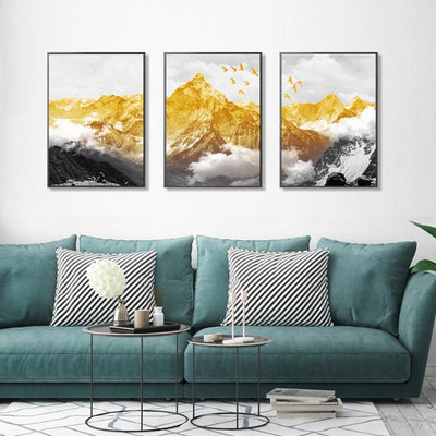 3 PCS Abstract Gold mountain Canvas Prints