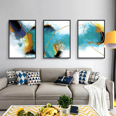 3 PCS Abstract Gold line Canvas Prints