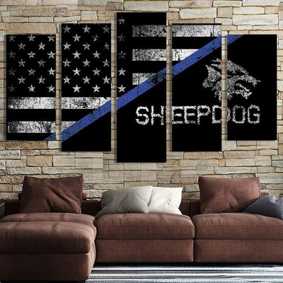 Sheepdog American flag Canvas Prints - Canvas Monsters