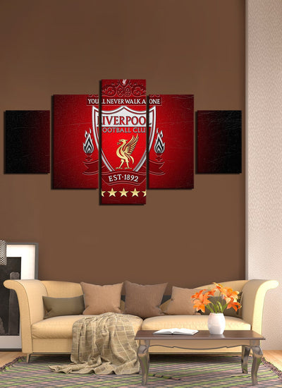 Red Liver Pool Flag Canvas Wall Art - Canvas Monsters