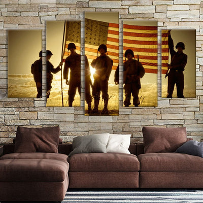 5pcs Soldiers with American flag Canvas Prints - Canvas Monsters