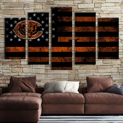 Chicago Bears American flag Canvas Prints - Canvas Monsters