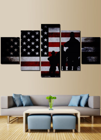 Veterans American Flag Canvas Prints