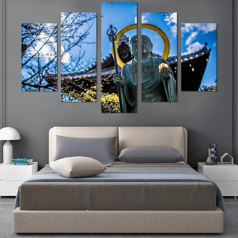 Image of 5PCS Buddha In The Sun Canvas Wall Art