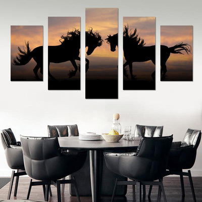 Two Horses In Sunset Canvas Wall Art