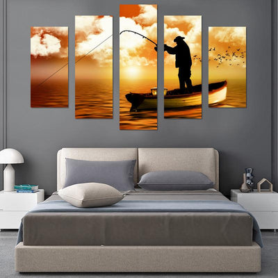 Fishing In Sunset Canvas Wall Art - Canvas Monsters
