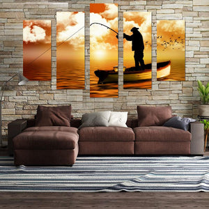 Fishing In Sunset Canvas Wall Art
