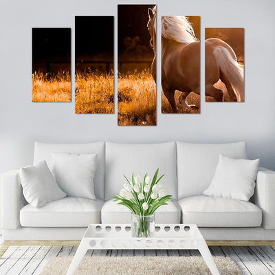 5PCS Running horse canvas wall art