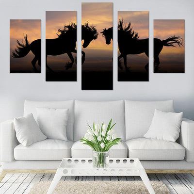 Two Horses In Sunset Canvas Wall Art - Canvas Monsters