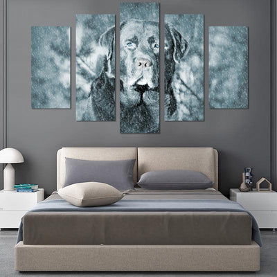 5PCS Dog In Snow Canvas Wall Art