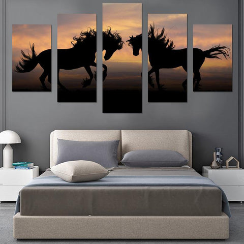 Image of Two Horses In Sunset Canvas Wall Art