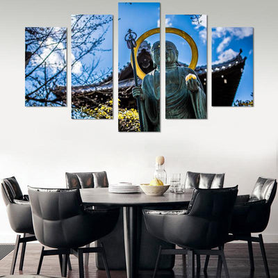 5PCS Buddha In The Sun Canvas Wall Art