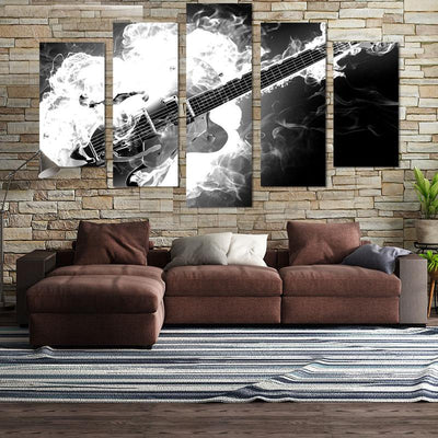 5PCS Black & White Guitar On Fire Canvas Wall Art