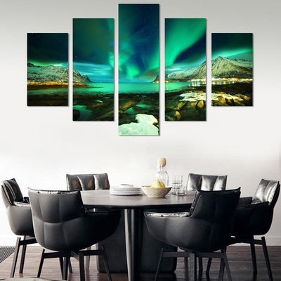 5PCS Aurora Borealis Lake Canvas Wall Art