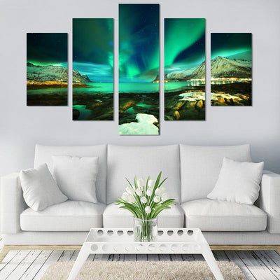 5PCS Aurora Borealis Lake Canvas Wall Art - Canvas Monsters