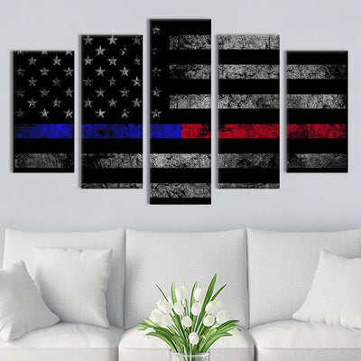 5pcs Black and white with Blue and Red line American flag Canvas Prints - Canvas Monsters