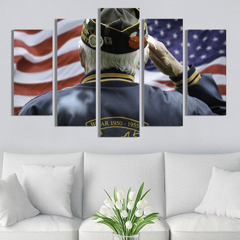 Veteran salute American Flag Canvas Prints