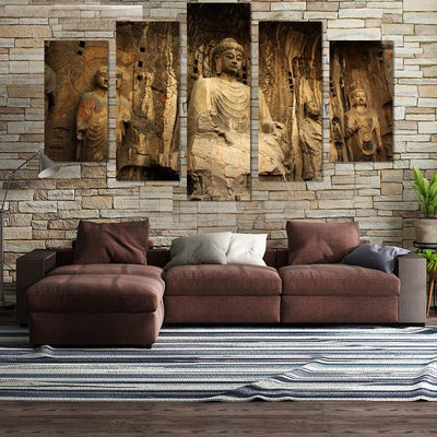 5PCS Sitting Buddha In The Sun Canvas Wall Art