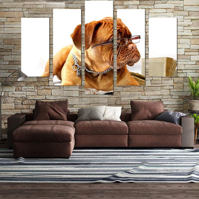 5PCS Dog Wear Glasses Canvas Wall Art