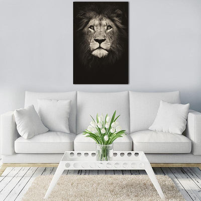 Black & White Lion Canvas Print