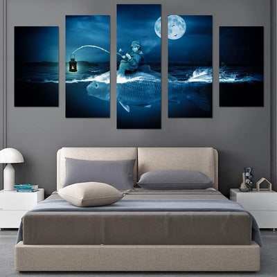 Fish In Moon Light Canvas Wall Art - Canvas Monsters