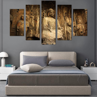 5PCS Sitting Buddha In The Sun Canvas Wall Art - Canvas Monsters