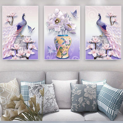 3 PCS Pink Peacock Flower Canvas Prints