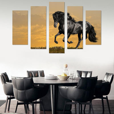 Horse Dancing Canvas Wall Art - Canvas Monsters