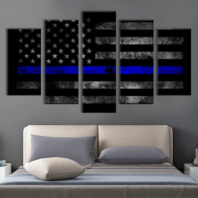 5pcs American flag with blue line Canvas Prints - Canvas Monsters