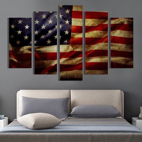Grunge American flag canvas wall art