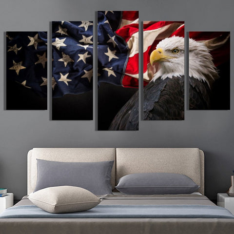 Flying American Flag with Eagle canvas wall art
