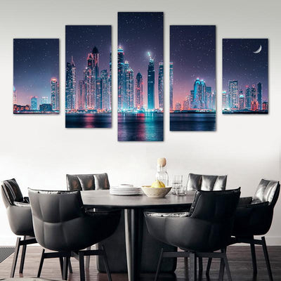 Skyline Night View Canvas Wall Art