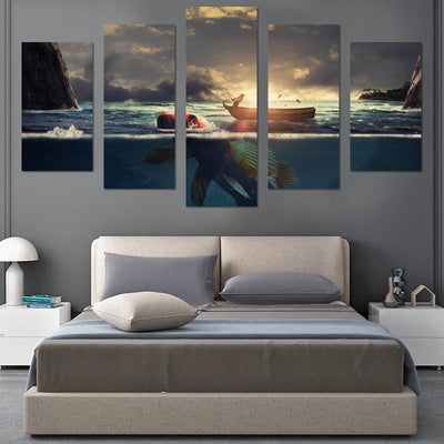 Hooked Fish In Sunset Canvas Wall Art