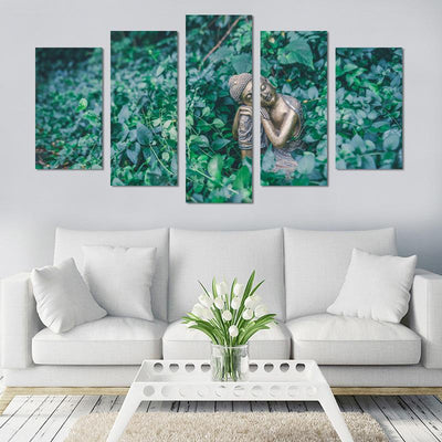 5PCS Smile Buddha In The Sun Canvas Wall Art