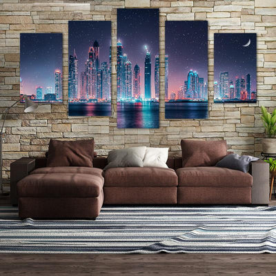 Skyline Night View Canvas Wall Art - Canvas Monsters