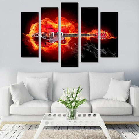 Image of 5PCS Guitar On Fire Canvas Wall Art