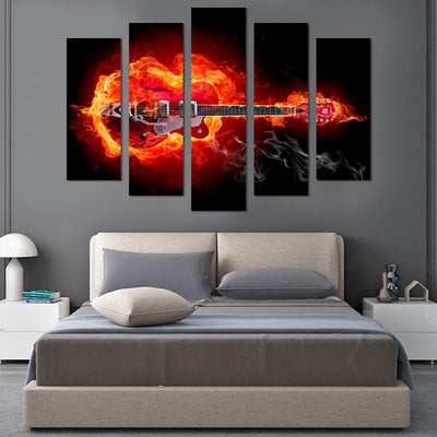 5PCS Guitar On Fire Canvas Wall Art - Canvas Monsters