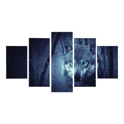 Blue Eyes Wolf In Forest Canvas Wall Art - Canvas Monsters