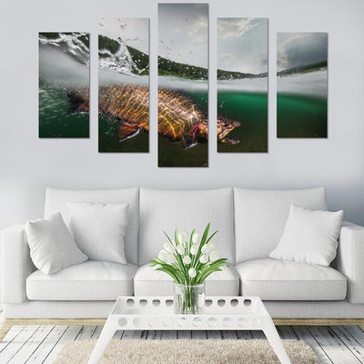 Hooked Fish Under Water Canvas Wall Art - Canvas Monsters
