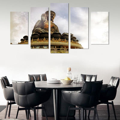 5PCS Huge Buddha In The Sun Canvas Wall Art - Canvas Monsters
