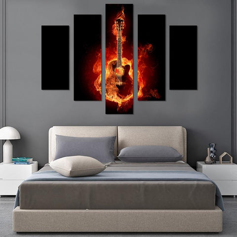 Image of Guitar On Fire Canvas Wall Art