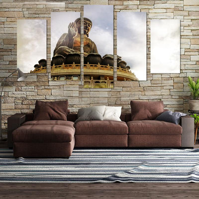 5PCS Huge Buddha In The Sun Canvas Wall Art