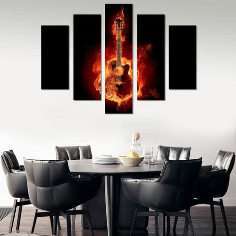 Guitar On Fire Canvas Wall Art