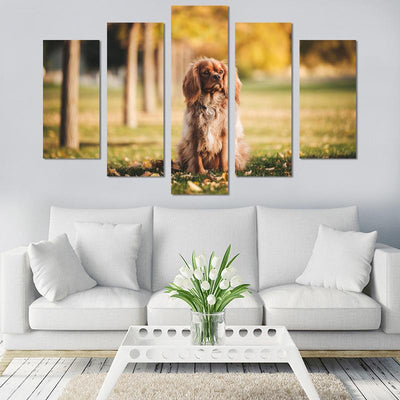 5PCS Dog On Grass Canvas Wall Art