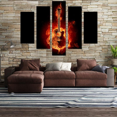 Guitar On Fire Canvas Wall Art - Canvas Monsters