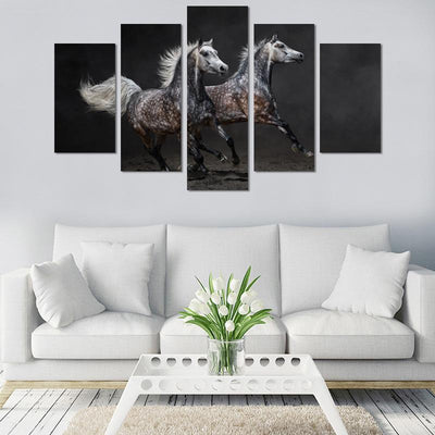 5PCS Two Horses Canvas Wall Art