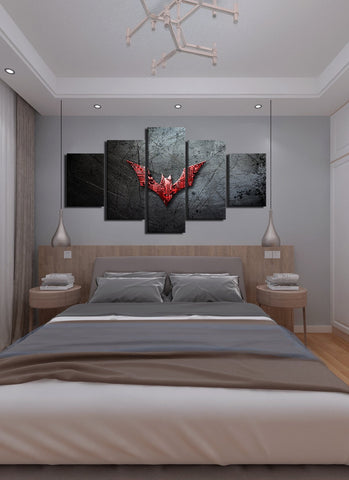 Image of Red Batman Symbol Canvas Wall Art