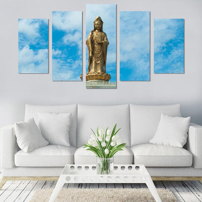 5PCS Stand Buddha In The Sun Canvas Wall Art - Canvas Monsters