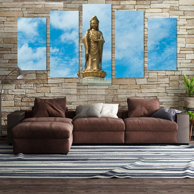5PCS Stand Buddha In The Sun Canvas Wall Art