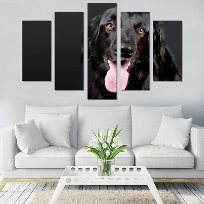 5PCS Cute Black Dog Canvas Wall Art